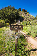 Pelican Bay trail sign, Santa Cruz Island, Channel Islands National Park, California USA