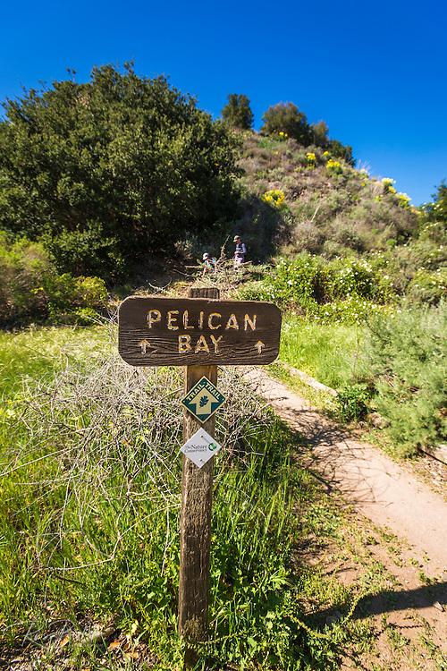 Pelican Bay trail sign, Santa Cruz Island, Channel Islands National Park, California USA