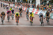 Barbara Guarischi (of Velocio Sports), crosses the line first in The Womens Grand Prix she is followed  by Shelley Olds and Annalisa Cucinotta, both of Ale Cipolinni. Prudential RideLondon a festival of cycling, with more than 95,000 cyclists, including some of the world's top professionals, participating in five separate events over the weekend of 1-2 August.
