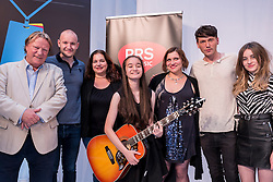 © Licensed to London News Pictures. 04/09/2016. London, UK. Overall GIGS 2016 Grand Final winner, Clarissa Mae, pictured centre with guitar stands with the judges.  Young buskers take part in the Mayor of London's GIGS 2016 busking competition Grand Final, held at Westfield, Stratford where large crowds gathered to see the performances.  Photo credit : Stephen Chung/LNP