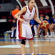Galatasaray's Yasemen SAYLAR during their woman Euroleague group C matchday 9 Galatasaray between Halcon Avenida at the Abdi Ipekci Arena in Istanbul at Turkey on Wednesday, January 12 2011. Photo by TURKPIX