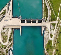 Aerial view of electricity power dam, Switzerland.
