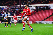 Jacob Brown of Barnsley (33) scores a goal and celebrates to make the score 1-0 during the EFL Sky Bet League 1 match between Barnsley and Bradford City at Oakwell, Barnsley, England on 12 January 2019.