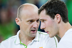 Jure Zdovc, head coach of Slovenia talks to Goran Dragic of Slovenia during friendly basketball match between National Teams of Slovenia and Brasil at Day 2 of Telemach Tournament on August 22, 2014 in Arena Stozice, Ljubljana, Slovenia. Photo by Vid Ponikvar / Sportida