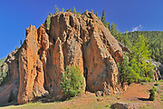 Red rock of Sinclair Canyon. Canadian Rocky Mountains, Kootenay National Park, British Columbia, Canada