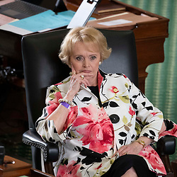 Texas Senate action on Tuesday, May 18, 2021 showing Sen. Beverly Powell, D-Burleson.