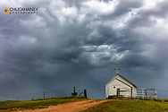 Abandonded church in thunderstorm in Richland County, Montana, USA