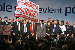 French Interior Minister and right wing presidential candidate Nicolas Sarkozy after his speech during a public meeting in Perpignan, France on February 23, 2007. Photo by Pascal Parrot/ABACAPRESS.COM