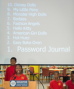 Fifth graders present their results from a favorite toy survey they conducted with students at Longfellow Elementary School, November 26, 2013.