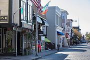 Buskers Restaurant in street scene in Newport, Rhode Island, USA