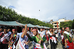 August 9, 2016 - Kathmandu, NE, Nepal - Nepalese community from Gurung Community plays traditional drums and dance during the International Day of the 22nd World Indigenous Day celebrated in Kathmandu, Nepal, 09 August 2016. At the call of the United Nations, on August 9 every year the International Day of the World's Indigenous People observed by organizing different programs. (Credit Image: © Narayan Maharjan/NurPhoto via ZUMA Press)