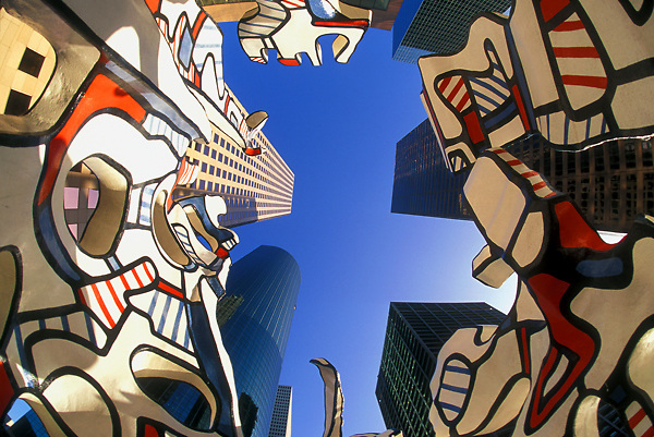 "Stock photo of Jean Dubuffet sculpture ""Monument to the Phantom"" in downtown Houston"