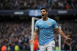 Manchester City's Sergio Aguero celebrates his goal. - Photo mandatory by-line: Dougie Allward/JMP - Tel: Mobile: 07966 386802 24/11/2013 - SPORT - Football - Manchester - Etihad Stadium - Manchester City v Tottenham Hotspur - Barclays Premier League