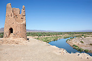 Date palm oasis with ruin at the Draa River against clear blue sky, Draa Valley, Morocco.
