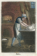 The Baker kneading dough on lid of flour bin. In the background the oven is being heated by burning faggots, like the bundle of wood, bottom right. When the oven was up to temperature, the ashes would be raked out and loaves placed in oven using a 'peel', one of the flat wooden paddle-like implements leaning against oven. From 'The Book of English Trades'. (London, 1824). Hand-coloured woodcut.