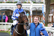 VINTAGE BRUT (2) ridden by David Allan and trained by Tim Easterby enters the Winners Enclosure after  winning The Listed coral.co.uk Rockingham Stakes over 6f (£50,000) during the October Finale meeting at York Racecourse, York, United Kingdom on 13 October 2018. Pic Mick Atkins
