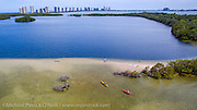 Aerial photograph of kayakers in John D. MacArthur Beach State Park in Singer Island, Florida, United States.