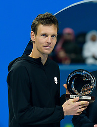 Tomas Berdych of Czech Republic poses with the runners-up trophy after losing the final against Roberto Bautista Agut of Spain at the ATP Qatar Open Tennis match at the Khalif?a International Tennis Complex in Doha, capital of Qatar, on January 05, 2019. Roberto Bautista Agut claimed the title by defeating Tomas Berdych with 2-1. (Credit Image: © Yangyuanyong/Xinhua via ZUMA Wire)