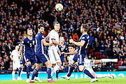 Yuri Zhirkov of Russia (18) with a header on goal during the UEFA European 2020 Qualifier match between Scotland and Russia at Hampden Park, Glasgow, United Kingdom on 6 September 2019.