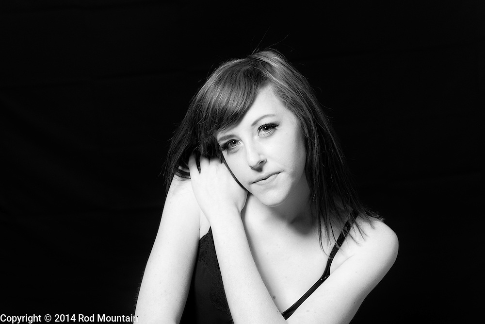 Model posing during studio photo shoot in Vancouver, BC