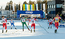 March 16, 2019 - Falun, SWEDEN - 190316  Sindre Bjørnestad Skar, Emil Iversen and Johannes Høsflot Klæbo of Norway in the Men's cross-country skiing sprint final during the FIS Cross-Country World Cup on march 16, 2019 in Falun  (Credit Image: © Daniel Eriksson/Bildbyran via ZUMA Press)