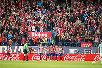 Atletico de Madrid's players celebrating a goal during La Liga Match at Vicente Calderon Stadium in Madrid. May 14, 2016. (ALTERPHOTOS/BorjaB.Hojas)