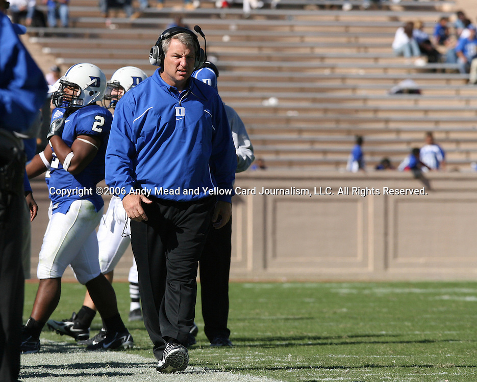 14 October 2006: Duke head coach Ted Roof. The Florida State University Seminoles defeated the Duke University Blue Devils 51-24 at Wallace Wade Stadium in Durham, North Carolina in an Atlantic Coast Conference NCAA Division I College Football game.