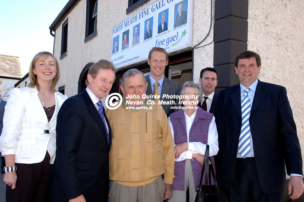 18-04-07. <br /> Enda Kenny, T.D. Leader of Fine Gael on a pre election visit to Nobber.<br /> L to R: Regina Doherty, Enda Kenny, T.D. Tony McEntee, Graham Geraghty, Mrs. McEntee, Damien English, T.D., and Shane McEntee, T.D.<br /> Photo: John Quirke / www.quirke.ie<br /> ©John Quirke Photography, Unit 17, Blackcastle Shopping Cte.<br /> Navan. Co. Meath. 046-9079044 / 087-2579454.