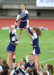 27.07.2010, Wetzlar Stadion, Wetzlar, GER, Football EM 2010, Team France vs Team Great Britain, im Bild Stunt der Cheerleader,  EXPA Pictures © 2010, PhotoCredit: EXPA/ T. Haumer / SPORTIDA PHOTO AGENCY