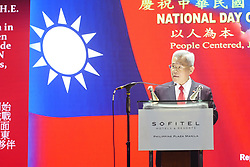 October 9, 2018 - Pasay City, National Capital Region, Philippines - Ambassador Michael Peiyung Hsu, Rep. of Taipei Economic and Cultural Office in the Philippines, giving a speech duringnthe 107th National Taiwan Celebration day. (Credit Image: © George Buid/ZUMA Wire)