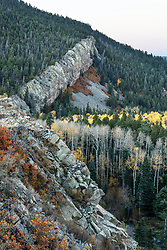 "Sunset on ""The Wall"" with aspens in fall color along Elk Creek , Vermejo Park Ranch, New Mexico, USA."