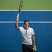 2019 US Open Tennis Tournament- Day Five.  Roger Federer of Switzerland celebrates his victory against Daniel Evans of Great Britain in the Men's Singles Round Three match on Arthur Ashe Stadium at the 2019 US Open Tennis Tournament at the USTA Billie Jean King National Tennis Center on August 30th, 2019 in Flushing, Queens, New York City.  (Photo by Tim Clayton/Corbis via Getty Images)