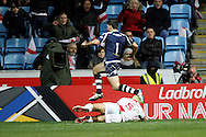 England's Ryan Hall (5 Leeds Rhinos) dives over to score a try during the Ladbrokes Four Nations match between England and Scotland at the Ricoh Arena, Coventry, England on 5 November 2016. Photo by Craig Galloway.