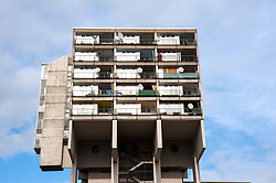 Detail of concrete social housing apartment building at Pallasstrasse in Schoneberg Berlin Germany