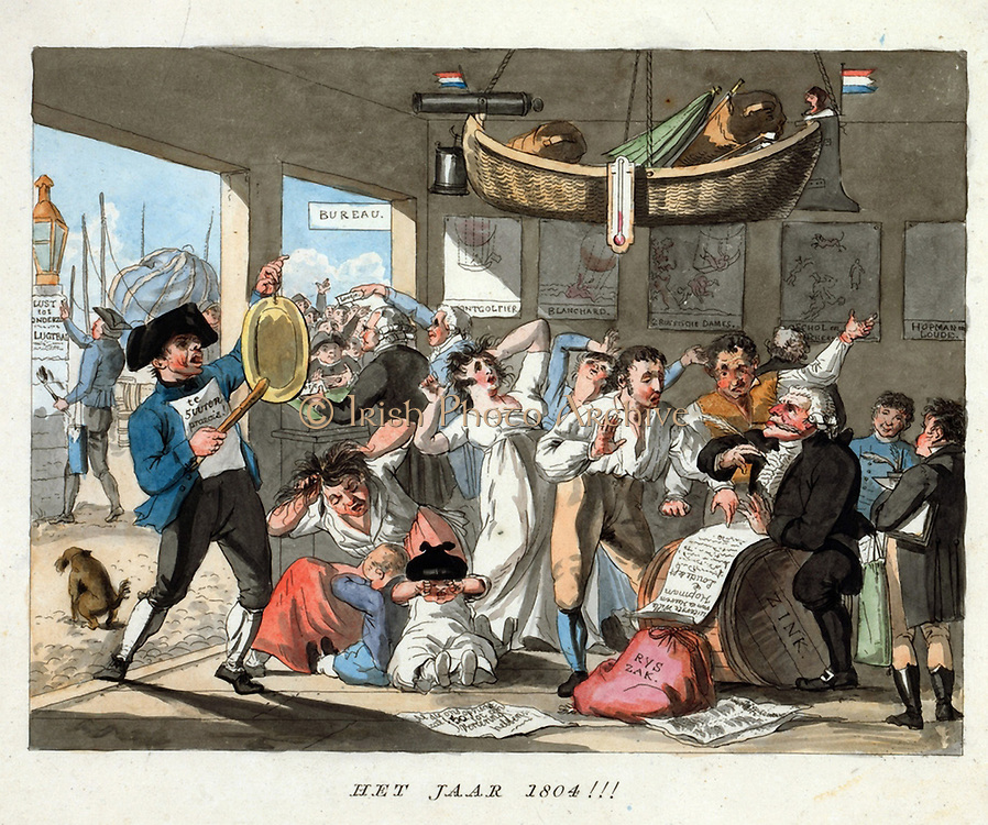 Dutch cartoon, 1794 predicting  advance of ballooning by 1804. Basket/gondola hangs from the ceiling, women and children in hysterics as two propsective aeronauts make wills. Prints of French ballooning accidents on wall. Aernautics