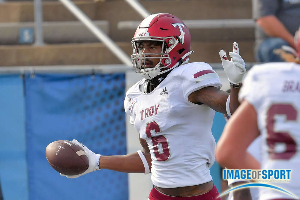 """Troy Trojans wide receiver Khalil McClain (6) reacts after catching a pass for a touchdown against Middle Tennessee Blue Raiders corner back Kenneth Major (21) (not pictured) during the first half at Johnny """"Red"""" Floyd Stadium in Murfreesboro, Tenn., Saturday, Sept. 19, 2020. (Jim Brown/Image of Sport)"""