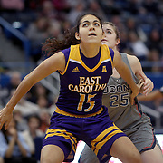 HARTFORD, CONNECTICUT- JANUARY 4: Thais Oliveira #15 of the East Carolina Lady Pirates in action during the UConn Huskies Vs East Carolina Pirates, NCAA Women's Basketball game on January 4th, 2017 at the XL Center, Hartford, Connecticut. (Photo by Tim Clayton/Corbis via Getty Images)