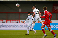 Leeds United midfielder Jack Harrison (22), on loan from Manchester City, heads the ball during the The FA Cup match between Crawley Town and Leeds United at The People's Pension Stadium, Crawley, England on 10 January 2021.
