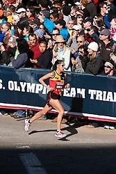 Desiree Davila, entering home stretch, 2nd in women's marathon