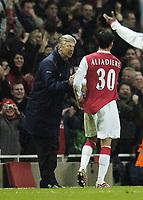 Photo: Olly Greenwood.<br />Arsenal v Tottenham Hotspur. Carling Cup Semi Final 2nd leg 31/01/2007. Arsenal's Jeremie Aliadiere celebrates scoring with Arsene Wenger
