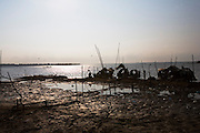 FISHERMEN MEKONG RIVER. South East Asia, Cambodia, Phnom Penh, Mekong River. The Cham fisher people live in various desolated villages along the banks of the Mekong and Tonle Sap rivers. The fisher families live like river gypsy nomads, working and living on their boats, sleeping under a sprung bamboo frame, all their worldly goods stored below deck. They live in extended families, with numerous boats, together for safety. Their diet is rice, vegetables and fish. Their sleek wooden boats are powered by petrol outboard motors with batteries or generators to supply lighting at night. Their fishing technique is laying nets twice or three times per day, which are weighted well below the surface, using old paint aerosal canisters as buoyant floaters, hanging just beneath the surface. These particular fisher families, living at the junction of the Mekong and Tonle Sap rivers, overlooked by Phnom Penh, sell their catch at the Vietnamese market, on the banks of the river. Their life and fortunes are controlled by the cycle of the river. As the river levels drop, so the quantity of fish decreases, until after the heavy floods of the monsoon they fill the river again. They are poor traditional Muslims, marginalised from mainstream society, living a third world life in the immmediate shadow of the first world. The Cham, originally a people of an ancient kingdom called Champa, are a small and disenfranchised community who were disinherited of their land. They are a socially important ethnic group in Cambodia, numbering close to 300,000. The Cham people, live in some 400 villages across Kampong Chnang and Kampong Cham provinces. Their religion is Muslim and their language belongs to the Malayo-Polynesian family. Their livelihoods are as diverse as rice farming, cattle trading, hunting and fishing.///Cham fishing boats tethered to the shore of the river Mekong