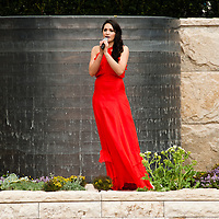 LONDON, UK - 21 May 2012: British Soprano Laura Wright performs live at 'The arthritis Research UK Garden' at the RHS Chelsea Flower Show 2012.