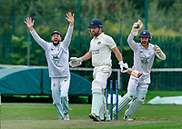Cricket - 2021 LV=County Championship - Final Round - Day three of four - Lancashire vs Hampshire - Aigburth, Liverpool - Thursday 23rd September 2021<br /> <br /> Hampshire skipper James Vinceand Lewis McManus appeal for lbw against of Steven Croft of Lancashire<br /> <br /> CreditCOLORSPORT