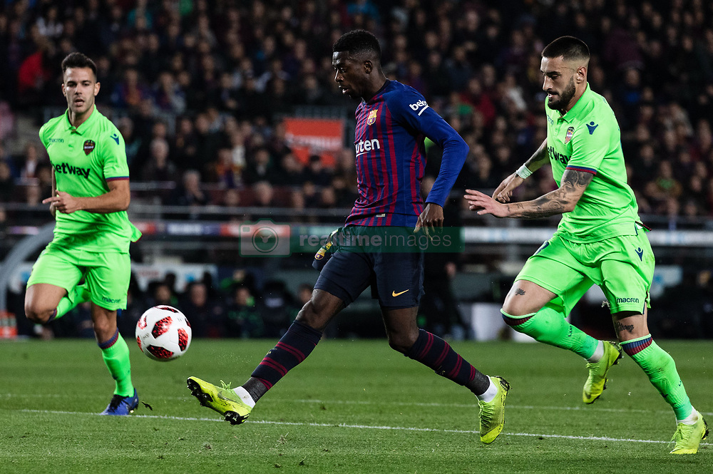BARCELONA, Jan. 18, 2019  FC Barcelona's Ousmane Dembele (C) dribbles.    during the Spanish King's Cup eighth final match between FC Barcelona and Lavente in Barcelona, Spain, on Jan. 17, 2019. (Credit Image: © Joan Gosa/Xinhua via ZUMA Wire)