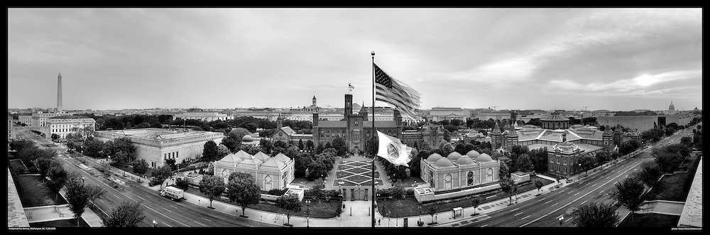 Panoramic photography of The Smithsonian Castle in center with The Washington Monument and US Capitol at each end.  Smithsonian National Mall.  Print Sizes (in inches): 15x5; 24x4.8; 36x12; 48x15; 60x20; 72x24
