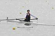 Eton, United Kingdom  GBR LM1X. Ben ROWE at the start of his time trial men's lightweight single sculls at the 2012 GB Rowing Senior Trials, Dorney Lake. Nr Windsor, Berks.  Saturday  10/03/2012  [Mandatory Credit; Peter Spurrier/Intersport-images]