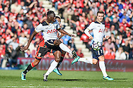 Tottenham Hotspur Midfielder, Victor Wanyama (12) is first to the ball during the Premier League match between Bournemouth and Tottenham Hotspur at the Vitality Stadium, Bournemouth, England on 22 October 2016. Photo by Adam Rivers.