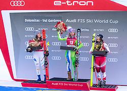 18.12.2018, Saslong, St. Christina, ITA, FIS Weltcup Ski Alpin, Abfahrt, Damen, Siegerehrung, im Bild v.l. Nicol Delago (ITA, 2. Platz), Ilka Stuhec (SLO, 1. Platz), Ramona Siebenhofer (AUT, 3. Platz) // f.l. second placed Nicol Delago of Italy race winner Ilka Stuhec of Slovenia third placed Ramona Siebenhofer of Austria during the winner Ceremony for the ladie's Downhill of FIS ski alpine world cup at the Saslong in St. Christina, Italy on 2018/12/18. EXPA Pictures © 2018, PhotoCredit: EXPA/ Johann Groder