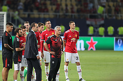 August 8, 2017 - Skopje, Macedonia - Jose Mourinho, Manager of Manchester United after the UEFA Super Cup match between Real Madrid and Manchester United at National Arena Filip II Macedonian on August 8, 2017 in Skopje, Macedonia. (Credit Image: © Ahmad Mora/NurPhoto via ZUMA Press)