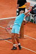 Rafael NADAL (ESP) won the match, celebration, Diego SCHWARTZMAN (ARG) in the background during the Roland Garros 2020, Grand Slam tennis tournament, on October 9, 2020 at Roland Garros stadium in Paris, France - Photo Stephane Allaman / ProSportsImages / DPPI